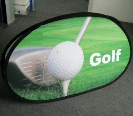 Golf flag oval pop up a frame bean banner